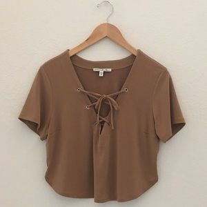 Express Cropped Nude Top